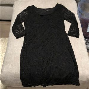 Black lace mini dress-body con